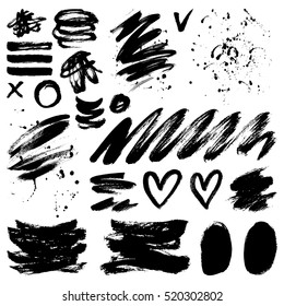 Vector ink and paint textures set. Grungy hand drawn lines, spots, hearts, drops and stains.
