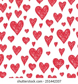 Vector ink pen background with red hearts, grunge seamless hand drawn pattern on white background