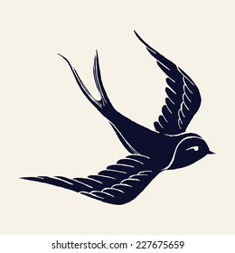 Vector ink pen hand drawn flying swallow silhouette illustration with vintage feel | Flying swallow tattoo