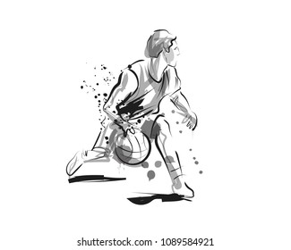 Vector ink sketch of basketball player