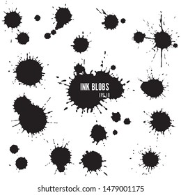 Vector ink splash collection. Set of ink blobs.