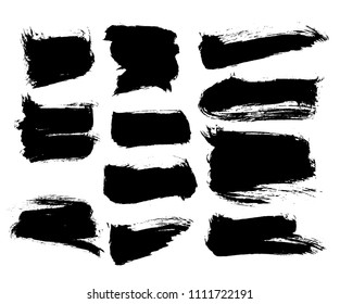 Vector ink splashes or black ink stroke silhouette collection. EPS10