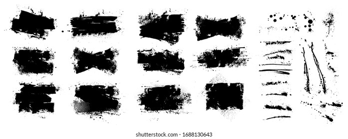 Vector ink splashes stencil. Very detailed collection mockups brush strokes for text and design. Black inked splatter dirt stain splattered spray splash with drops blots. Vector isolated set boxes