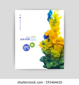 vector Ink swirling in water, cloud of ink in water isolated on white. Colorful ink in water abstract banner