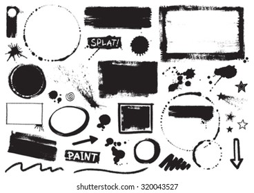 Vector Inky Grunge Paint Splats, Borders and Marks
