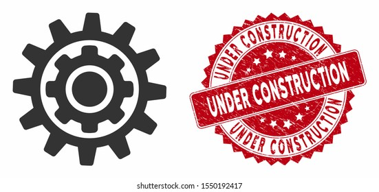 Vector inner gear icon and distressed round stamp seal with Under Construction caption. Flat inner gear icon is isolated on a white background.