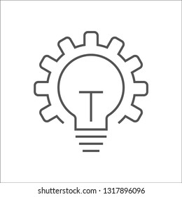 Vector innovation icon. Light bulb and gear. Premium quality graphic design element. Modern sign, linear pictogram, outline symbol, simple thin line icon. EPS 10