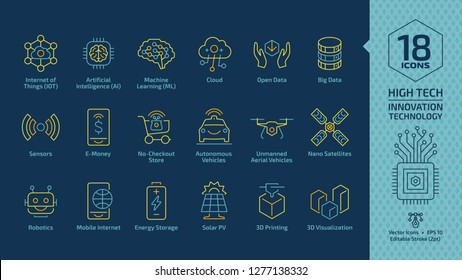 Vector innovation technology editable stroke yellow line icon set on a dark blue with high tech digital system, internet of things, artificial intelligence, machine learning and more outline symbols