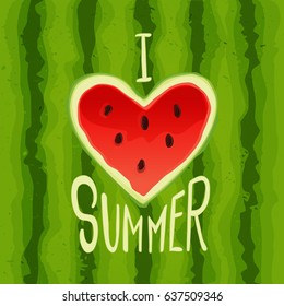 """Vector inscription """"I love summer"""" cut out on a striped watermelon"""
