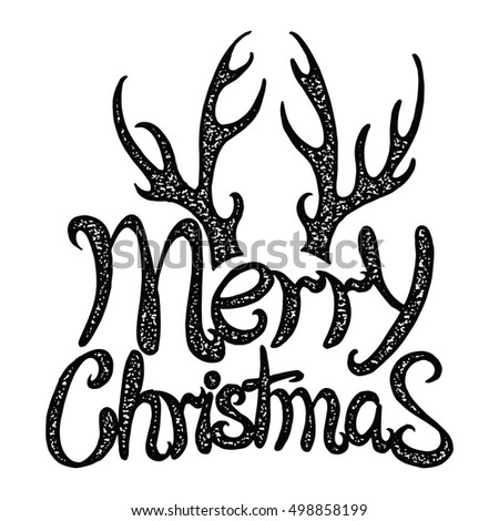 Vector Inscription Merry Christmas Deer Antlers Stock Vector