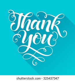 Vector inscription on blue background. Thank you lettering for invitation and greeting card, prints and posters. Hand drawn inscription, calligraphic design
