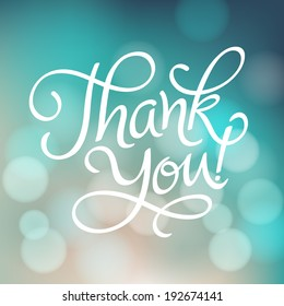 "Vector inscription with ornamental elements on defocus background.  ""Thank You!"" poster or greeting card"
