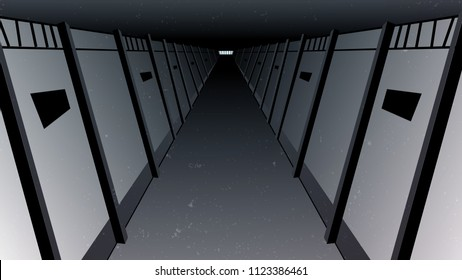 Vector of inside of a prison, jail, dungeon hall with the cells perspective look