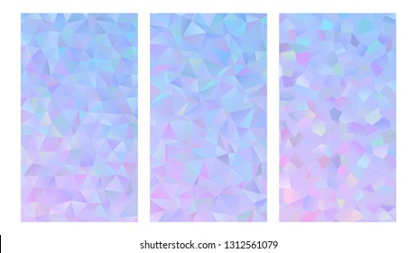 Vector INSTA Story Template Backgrounds. Holographic Gradient Polygonal Design. Crystal Facets Low Poly Textures. Abstract Sparkling Blue to Pink Ombre Mobile App UI Screen Backdrop. 9:16 Aspect Ratio