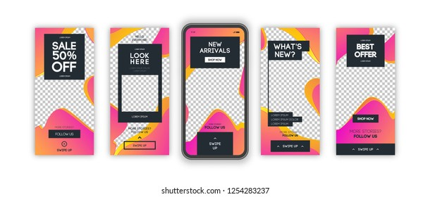Vector instagram stories template set with liquid abstract modern gradient background for banner sale, presentation, flyer, poster, invitation. Screen backdrop for mobile app. Streaming. 10 eps