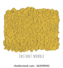 Vector instant noodle block. Hand drawn fast food illustration