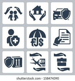 Vector insurance icons set - family, home, auto, life, deposit, policy, goods, travel and business