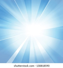 Vector intense sun on a soft blue background