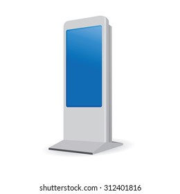 Vector Interactive Information Kiosk Terminal Stand Touch Screen Display, white background