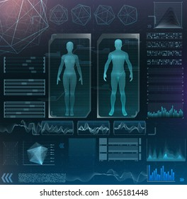 vector interface set. medical examination of a woman. design of medical scanning. hud