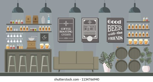 Vector interior of the bar, which shows the barrels of beer, bar, coffee and coffee machine. Suitable well for decoration.