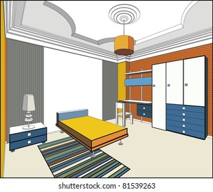 vector interior of bedroom in blue and orange colors. Vector illustration
