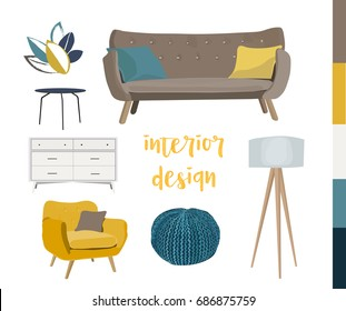 vector interior design elements. modern furniture living room. sofa, armchair, tripod, knitted pouffe. mood board.