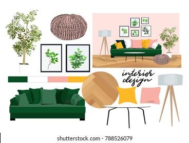 Interior Design Mood Boards Images Stock Photos Vectors