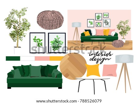 Vector Interior Design Illustration Furniture Collection Stock Gorgeous A Living Room Design Collection