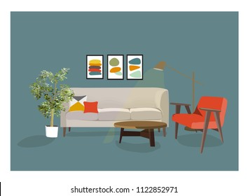 vector interior design illustration. home house decor.  colorful furniture of  living room. trendy style.