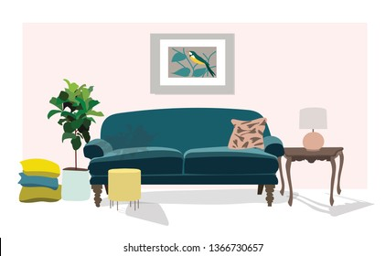 vector interior design illustration. home house decor decoration. furniture living room lounge. sofa armchair table coffee lamp cushion plant vase. modern contemporary designer trendy style. trend.