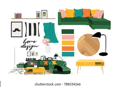 vector interior design illustration. home decor mood board. furniture elements collection. living room decor. hand drawn sketch. drawing.