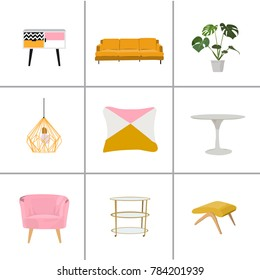 vector interior design illustration. living room furniture. home house decor decoration mood board. trendy stylish flat elements collection.