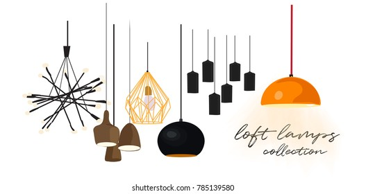 vector interior design illustration. set of loft lamps. ceilinf lamps. industrialtyle pendant lamps. web site banner. shop retail advert logo.