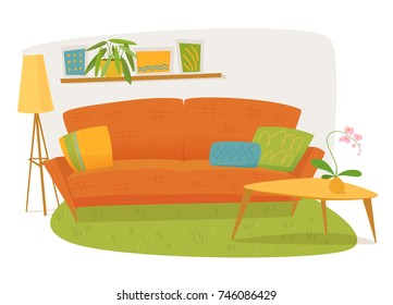 Vector interior design with sofa, lamp, table and shelf with pictures. Vector interior objects.