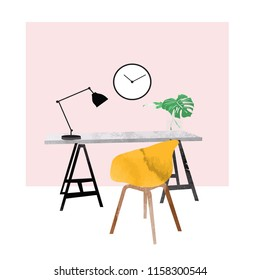 vector interior design watercolor illustration. office study picture. chair, desk and lamp. cute drawing. furniture.