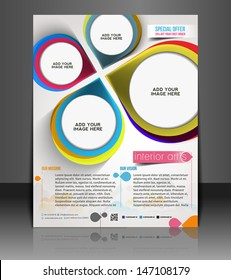 Vector Interior Designers Flyer, Magazine Cover & Poster Template.
