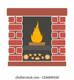 vector interior fireplace illustration. home or house traditional fireplace