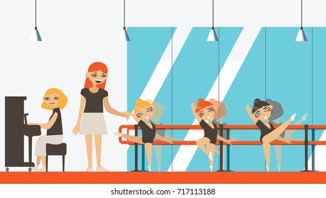 Vector interior in flat style with little ballerinas, teacher and musician playing piano. Ballet dancing studio with dance barre.