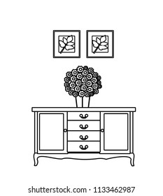 vector interior home furniture modern. Line icons
