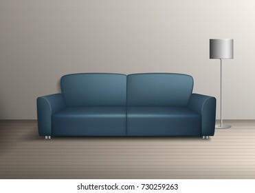 Vector interior illustration. Modern sofa furniture with lamp template elements on the floor