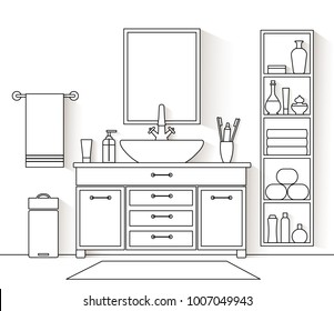 Vector interior in a linear style. Illustration of a bathroom with furniture and equipment. Outline restroom.