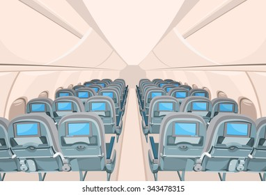 Vector interior of passenger airplane with many empty seats