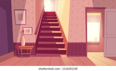 Vector interior with staircase and white open door in living room. Home inside with light from window and shadows on steps. Front view of stairs with handrail, table with vase in maroon colors.