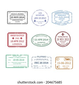Vector international business and vacations travel visa stamps set like Hong Kong, Australia, London, New Zealand and Philippines