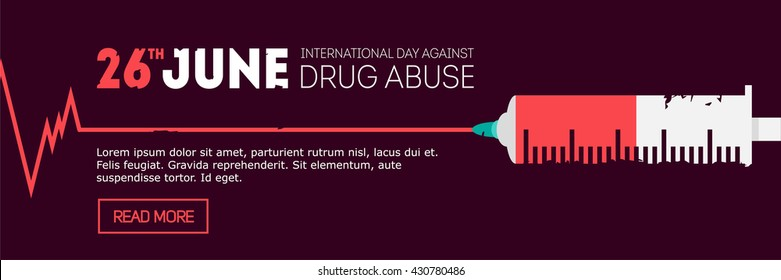 vector international day against drug abuse banner