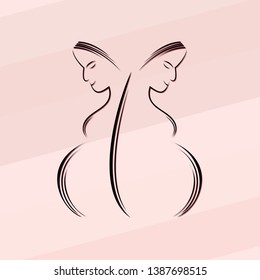 Vector for International Midwives Day with Pregnant Mom and pink background