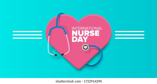 vector international nurse day greeting card or horizonta banner  with stethoscope isolated on azure  background. vector nurses day icon or sign design template
