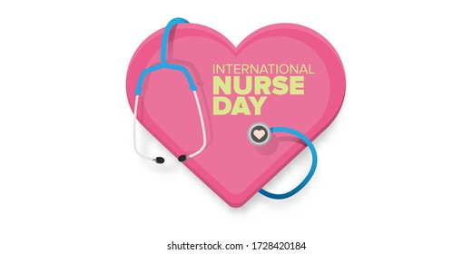 vector international nurse day greeting card or horizonta banner  with stethoscope isolated on white  background. vector nurses day icon or sign design template