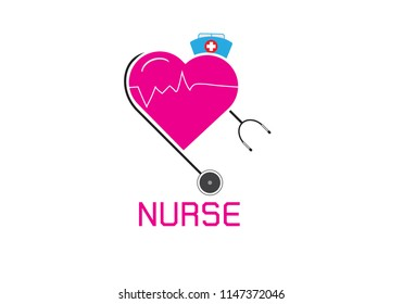 vector international nurse day vector label with stethoscope isolated on white background. vector nurses icon.Illustration EPS 10.